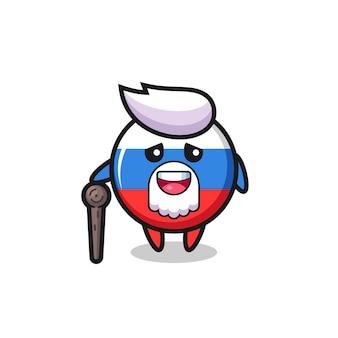 O vovô bonito do distintivo da bandeira da rússia está segurando um pedaço de pau, design de estilo fofo para camiseta, adesivo, elemento de logotipo