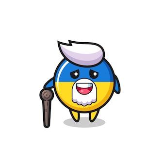 O vovô bonito do distintivo da bandeira da ucrânia está segurando um pedaço de pau, design de estilo fofo para camiseta, adesivo, elemento de logotipo
