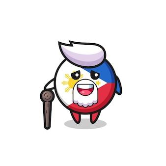 O vovô bonito do distintivo da bandeira das filipinas está segurando um pedaço de pau, design de estilo fofo para camiseta, adesivo, elemento de logotipo