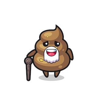 O vovô cocô bonito está segurando um pedaço de pau, design de estilo fofo para camiseta, adesivo, elemento de logotipo