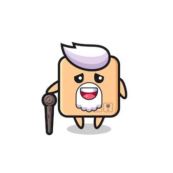 O vovô de caixa de papelão fofa está segurando um pedaço de pau, design de estilo fofo para camiseta, adesivo, elemento de logotipo