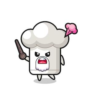 O vovô de chapéu de chef fofo está ficando com raiva, design de estilo fofo para camiseta, adesivo, elemento de logotipo
