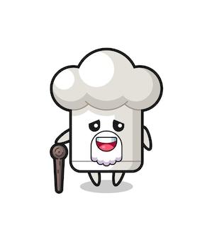 O vovô de chapéu de chef fofo está segurando uma vara, design de estilo fofo para camiseta, adesivo, elemento de logotipo