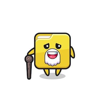 O vovô de pasta fofa está segurando um pedaço de pau, design de estilo fofo para camiseta, adesivo, elemento de logotipo
