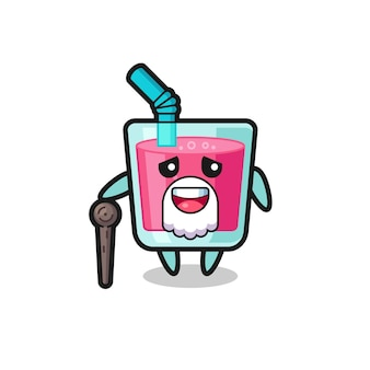 O vovô de suco de morango fofo está segurando uma vara, design de estilo fofo para camiseta, adesivo, elemento de logotipo