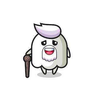 O vovô fantasma fofo está segurando um pedaço de pau, design de estilo fofo para camiseta, adesivo, elemento de logotipo