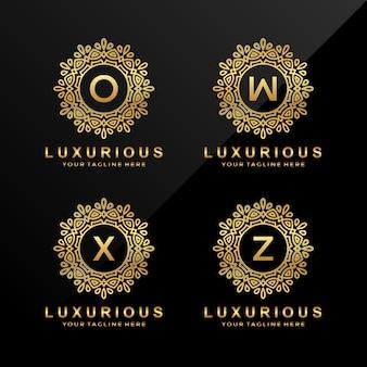 O, w, x, z logotipo de letra de luxo