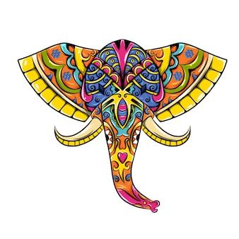 O zentangle colorido da cabeça do elefante