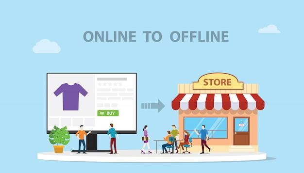 O2o on-line para off-line e-commerce nova tecnologia conceito com loja e site on-line