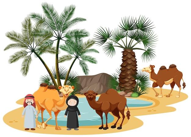 Oásis no deserto com camelos e elementos da natureza