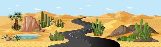Oásis no deserto com estrada, palmeiras e paisagem natural com cactos