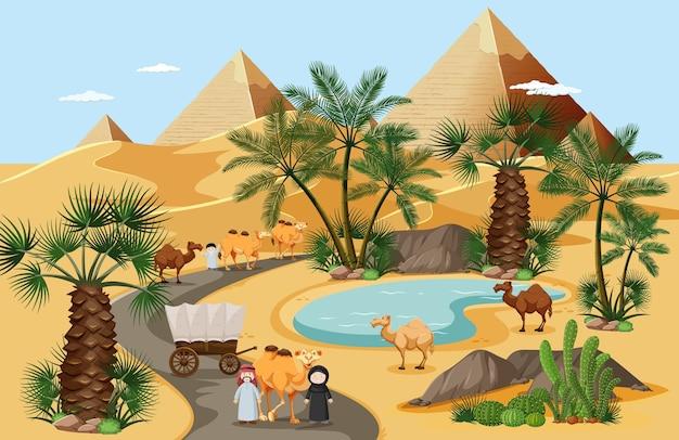 Oásis no deserto com paisagem de palmeiras