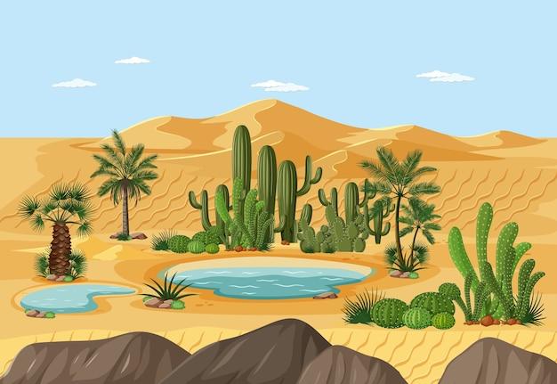 Oásis no deserto com palmeiras e paisagem natural com cactos