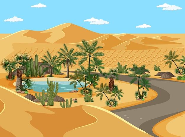 Oásis no deserto com palmeiras e paisagem rodoviária
