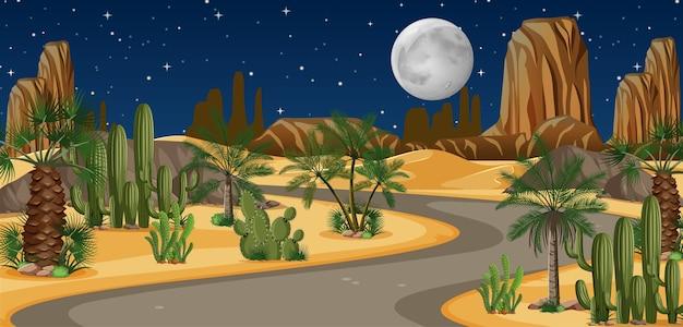 Oásis no deserto com uma longa estrada à noite