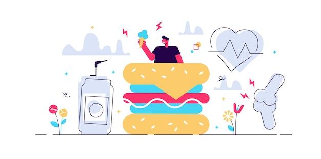 Obesidade. plano minúsculo conceito de pessoas com problema de excesso de peso. estilo de vida do corpo gordo e comer lixo não saudável. equilíbrio de controle de peso e perda de exercício. risco de doenças cardíacas e colesterol