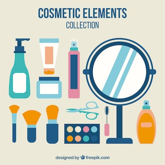 Objectos de cosméticos em design plano