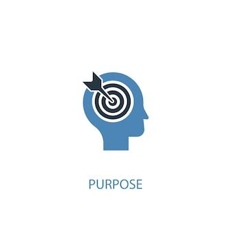 Objetivo conceito 2 ícone colorido. ilustração do elemento azul simples. propósito conceito símbolo design. pode ser usado para ui / ux da web e móvel