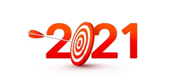 Objetivo de ano novo de 2021 e metas com o símbolo de 2021 do alvo vermelho do tiro com arco