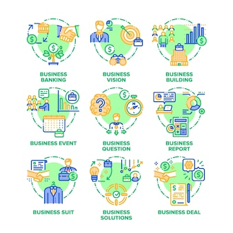 Objetivo de negócio, visão, soluções e realização, evento e acordo de negócio