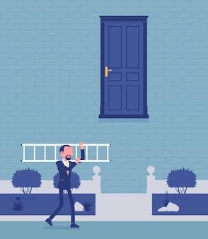Objetivo difícil de alcançar e solução. o empresário tem uma resposta, uma escada para abrir a porta, toma decisões, resolvendo problemas ou lidando com uma situação difícil de negócios. ilustração vetorial, personagens sem rosto
