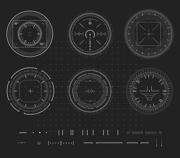 Objetivo do atirador furtivo, display digital dispositivo inteligente, infográfico hud, elemento de design. campo de tiro, pontaria, coleção de ícones de alvo.