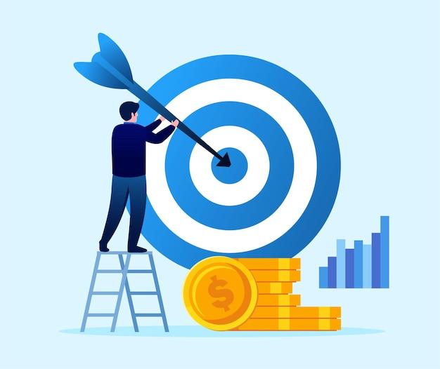 Objetivo e realização do negócio. conceito de destino. modelo de ilustração vetorial plana