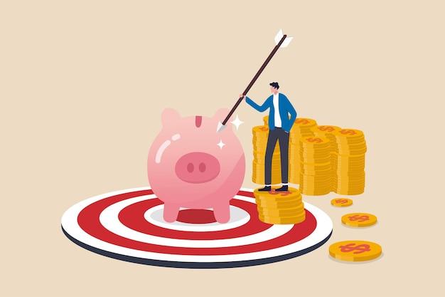 Objetivo ou meta financeira, sucesso na poupança e investimento ou alcançar o conceito de independência financeira