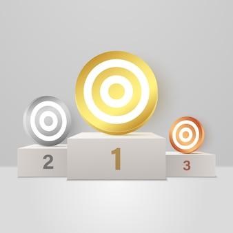 Objetivos de dificuldade variada em um pódio de prêmios de alturas diferentes