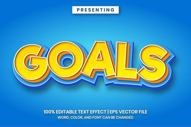 Objetivos - efeito de texto do estilo do título do jogo de desenho animado