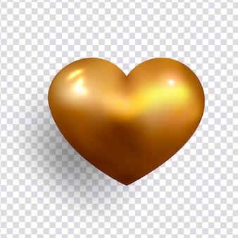 Objeto 3d de decoração realista de coração de ouro.
