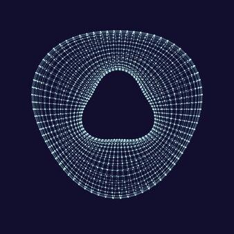 Objeto 3d de estrutura de arame. toro deformado.