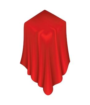 Objeto coberto. capa de cortina em tecido de seda vermelha.