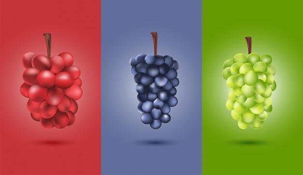Objeto, conjunto de uvas vermelhas verdes pretas