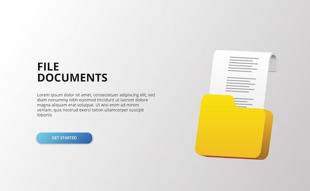 Objeto de arquivo de tecnologia de arquivos de papel pasta de documentos 3d com 3d ícone deslumbrante escritório