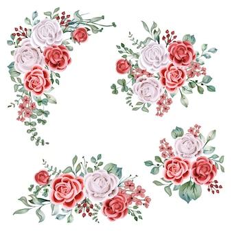 Objeto de arranjo de grinalda floral em aquarela rosa