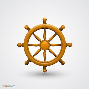 Objeto de arte da roda do navio de madeira. ilustração vetorial
