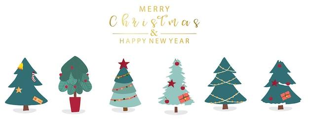 Objeto de árvore de natal fofo com fundo branco e letras douradas
