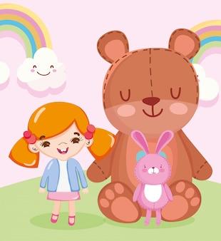 Objeto de brinquedos para crianças brincarem de desenho animado, boneca de ursinho de pelúcia e ilustração de coelho