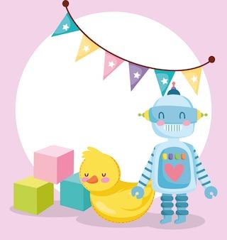 Objeto de brinquedos para crianças brincarem desenho animado, robô pato de borracha e ilustração de cubos