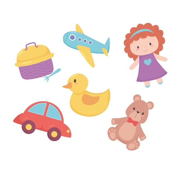 Objeto de brinquedos para crianças pequenas brincarem boneca dos desenhos animados urso pato avião e lancheira