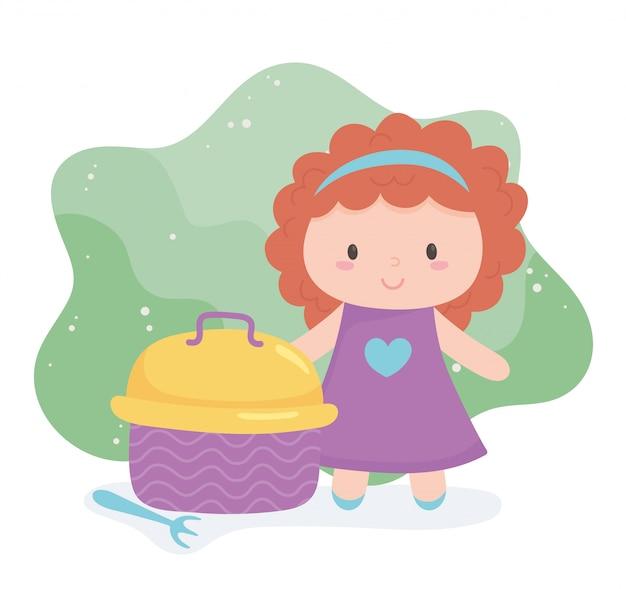 Objeto de brinquedos para crianças pequenas brincarem de boneca e lancheira