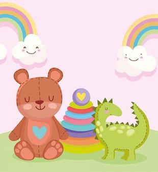 Objeto de brinquedos para crianças pequenas brincarem de desenho animado, dinossauro fofo urso de pelúcia e ilustração de pirâmide