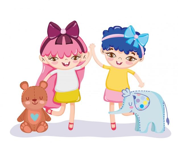 Objeto de brinquedos para crianças pequenas brincarem de desenho animado, lindas meninas com elefante e ilustração de urso