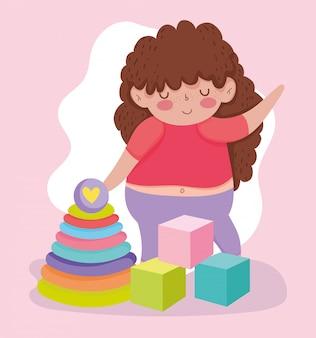 Objeto de brinquedos para crianças pequenas brincarem de desenho animado, menina com cubos e ilustração de pirâmide