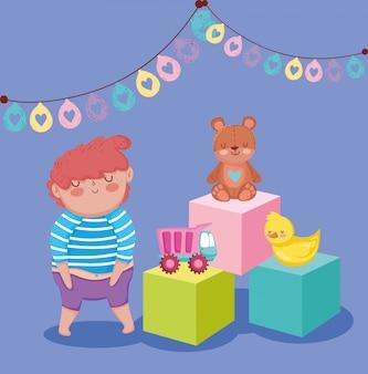 Objeto de brinquedos para crianças pequenas brincarem de desenho animado, menino com caminhão de urso pato e ilustração de cubos