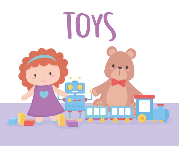 Objeto de brinquedos para crianças pequenas brincarem robô e trem de urso de boneca dos desenhos animados