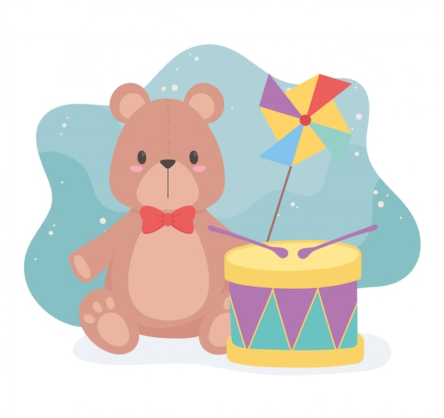 Objeto de brinquedos para crianças pequenas brincarem tambor e cata-vento de ursinho dos desenhos animados