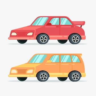 Objeto de carro em ilustração plana de vista lateral