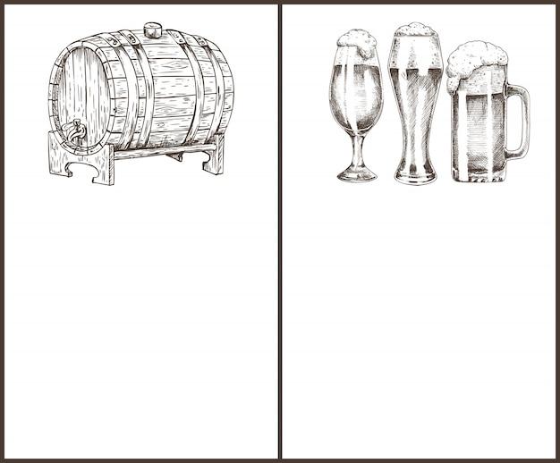 Objeto de cerveja no esboço de estilo de mão desenhada de tinta